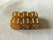 6x D6 18mm Gold Glitter Metal Flake  Dice, RPG, Yahtzee, Wargaming,