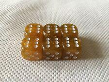 6x D6 18mm Gold Glitter Metal Flake  Dice, RPG, Yahtzee, Wargaming,
