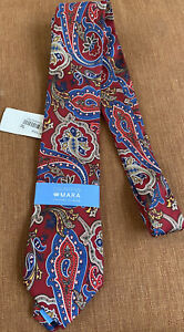 COUNTESS MARA Handmade 100% Silk Tie Men's Fall Paisley Print (Red / Blue) NWT