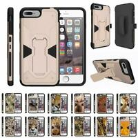 """For Apple iPhone 7 Plus Case (5.5"""") Holster Belt Clip Kickstand Armor Gold Cover"""
