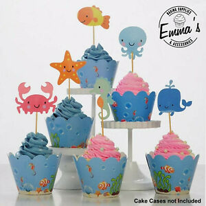 24PCS Sea Creatures Kids Birthday Cupcake Toppers Picks Crab Seahorse Fish Whale
