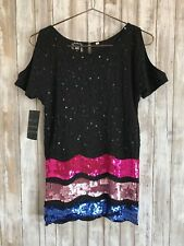 Lost & Found Vintage Sequin Beaded Black Blue Pink Blouse Top * 12 RARE!