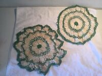 2~ Vintage Hand Crocheted White & Green Doilies~