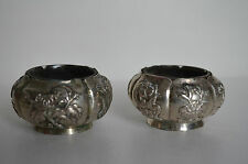 Pair Antique Chinese Export Silver Salt Cellars Great Gift