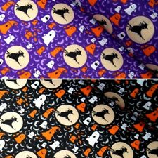 Polycotton Fabric Halloween Witches on Broomsticks Ghosts & Bats in Moonlight