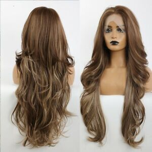 Long Wavy Synthetic Wigs Lace Part Mixed Dark Brown Fiber Women Daily Use Hair