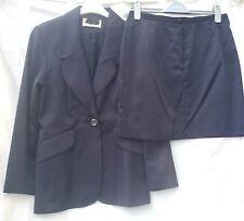 UK 10 Short Length Skirt & UK 14/16 Jacket Suit,  Dark Navy Blue Nylon & Cotton