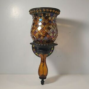 2 Piece Partylite Global Fusion Mosaic Glass Tiles Wall Sconce Base & Peglite