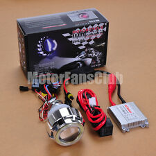 "2.2"" Latest Dual LED Angel Eye HID BI-Xenon Projector Lens Headlight Kit Halo #7"