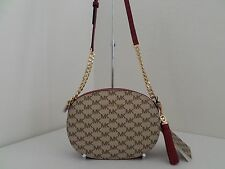 NWT AUTHENTIC MICHAEL KORS STUDIO GINNY MEDIUM MESSENGER BAG-$228-NATURAL/CHERRY