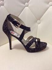 Michael Kors Evie Platform Heels Cheetah Glitter Brown Women's 9M New