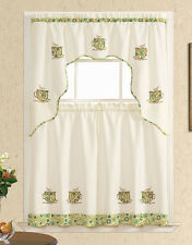 READY IN US. COFFEE/TEA TIME 3pcs Kitchen curtain set, Nice applique embroidery