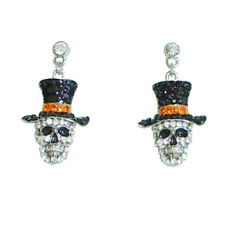 Mr. Bones Skull Post Earrings with Jet Black, Orange & Clear Crystals