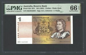 Australia One Dollar ND(1983) P42d R78 Uncirculated Graded 66