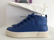 NEW BALENCIAGA Blue Electrique Leather Mens High Sneakers Lace Up Shoe EU44