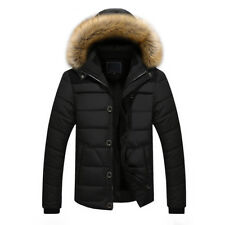 Men Thick Warm Down Cotton Jacket Parka Fur Collar Winter Hooded Coat Outwear