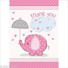 UMBRELLA ELEPHANT GIRL THANK YOU NOTES (8) ~ Baby Shower Party Supplies Cards