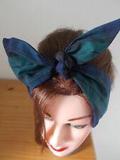 HEAD SCARF TARTAN HAIR BAND GREEN ROCKABILLY PIN UP SWING LAND GIRL SELF TIE
