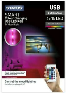 STATUS LED LIGHT TAPE USB 2 X 50CM DIMMABLE COLOUR CHANGING 1 2 3 OR 4 PACKS