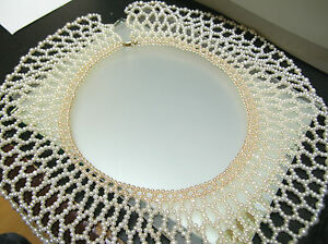 Vintage Unique real freshwater cultured pearl collar net necklace 14k gold clasp