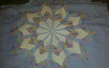 "Gorgeous Large Rainbow Layered Star Crochet 17"" Doily"
