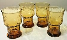 "VINTAGE 70'S LOT OF 4 GLASSES LIBBEY AMBER COUNTRY GARDEN DAISY 5"" WATER GOBLETS"