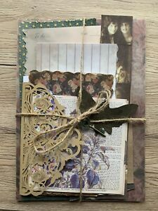 50pc Vintage themed Paper & Ephemera Bundle handmade elements journal, scrapbook