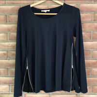 Philosophy Women's Size Small Long Sleeve Tunic ~ Navy Blue with Zippers at hem