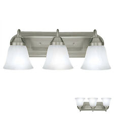 Brushed Nickel 3 Globe Bathroom Vanity Light Bar Bath Fixture, Alabaster Glass