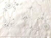 VINTAGE HAND EMBROIDERY WHITE LINEN Butterflies NIGHTDRESS CASE CUSHION COVER