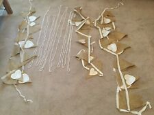 Job Lot Bundle Hessian Vintage Look Bunting Flags & Ivory Beading Free Postage