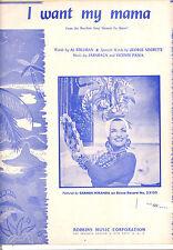 """CARMEN MIRANDA Sheet Music """"I Want My Mama"""" 1940"""