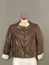 Vertigo Paris Womens Jacket Small Bronze Blazer Button Linen Metallic EUC