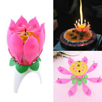 Magical Flower Happy Birthday Light Up Blossom Lotus Musical Candle Cake Toppers