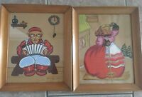 Vintage Swedish Folk Paintings Watercolors Circa 1930's Yvonne Kehew Frame