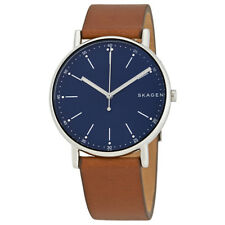 Skagen Signature Blue Dial Brown Leather Mens Watch SKW6355