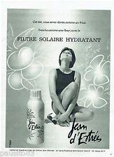 PUBLICITE ADVERTISING 115  1965  JEAN D'ESTREES  creme filtrant solaire hydratat