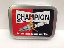 Champion Spark Plugs Garage Girl Cigarette Tobacco Storage 2oz Hinged Tin