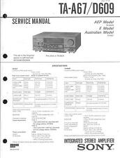 Sony Original Service Manual Pour Ta-A 67/d609