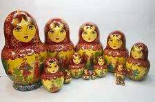 Vintage 15Pcs Signed Matryoshka Russian Fairy Tale Nesting Doll Magnificent