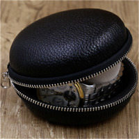 Soft Genuine Leather Black Travel Portable Watch Protection Pouch Case