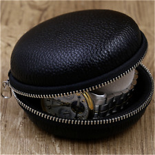 Genuine Leather Black Travel Portable Watch Protection Pouch Case