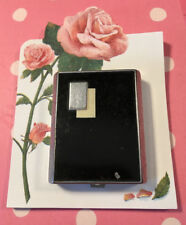 POWDER/ROUGE COMPACT ART DECO BOURJOIS 1940's BLACK & SILVER MIRROR & 2 SECTIONS