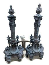 Pair French Torch Antique Bronze Ormolu Louis XVI Andirons Chenets Fire Place