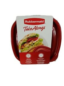 Rubbermaid TakeAlongs - Food Storage Containers - 2.9 Cups 2 Squares Red