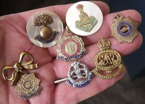 SEVEN WW2 PERIOD SWEETHEART BROOCHES, BADGES, SUFFOLK CANADIAN GUARDS YORKSHIRE