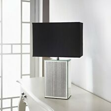 SPARKLE GLITTER MIRROR LARGE TABLE LAMP SILVER BLACK SHADE BRAND NEW