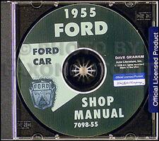 1955 Ford Riparazione Auto Manuale di Negozio CD Thunderbird Fairlane Mainline