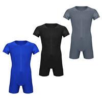 Herren Body Einteiler Kurzarm Unterhemd Boxer Briefs Bodysuit mit Reißverschluss