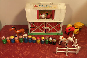 Vintage Fisher Price Little People Play Family Farm Barn Playset w/ Accessories